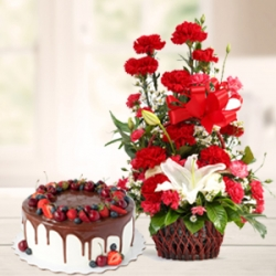 Red Carnations Bouquet Chocolate Cake