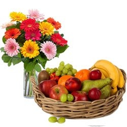 Gerbera Bouquet And Fresh Fruit Combo