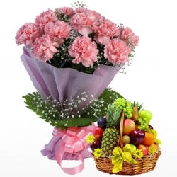 Pink Carnations And Fresh Fruit Combo