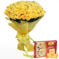 Yellow Roses Bunch Soan Papdi