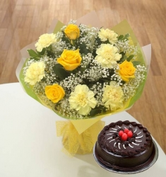Yellow Flowers Bunch Chocolate Truffle Cake