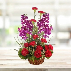 Red Carnations And Orchid Bouquet