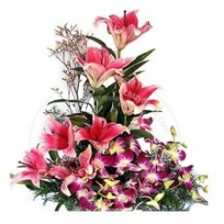 Orchid  And PInk Lilies Bouquet