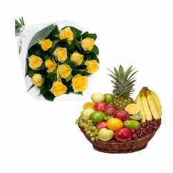 Yellow Roses And Fresh Fruit