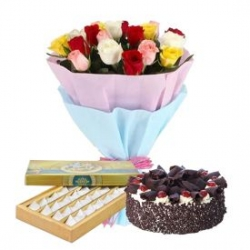 Roses Bunch Sweets And Chocolate Cake