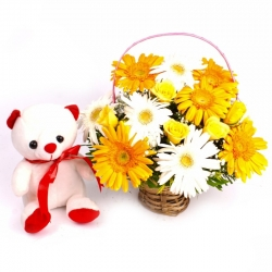 Gerbera Arrangement And Teddy