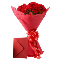 Red Carnations Bunch Greeting Card