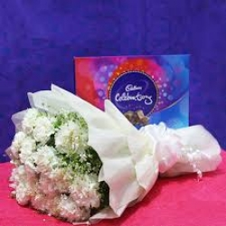 White Carnations Bunch With Cadbury Celebrations Box