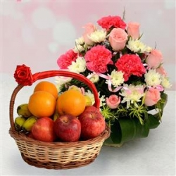 Mix Carnations Bouquet And Fresh Fruit