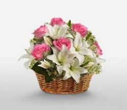 White Lilies And Pink Roses Bouquet