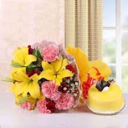 Exotic Flower Bunch And Mango Cake