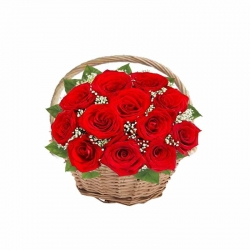 12 Red Rose Basket