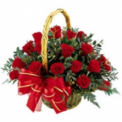 30 Red Roses  Basket