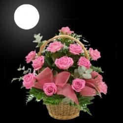 12 Pink Rose Basket