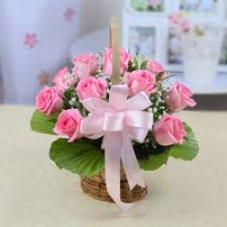 18 Pink Rose Basket