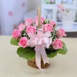 18 Pink Rose Basket