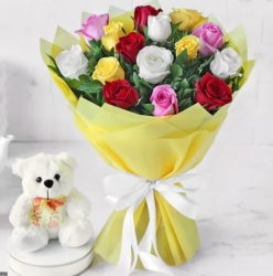 Multicolored Roses With Teddy