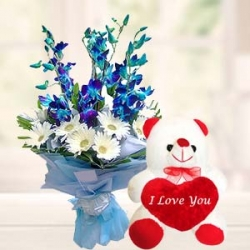 Exotic Flower Bouquet Teddy Bear Combo