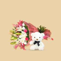 Bunch Of Lilies With Roses Teddy Combo