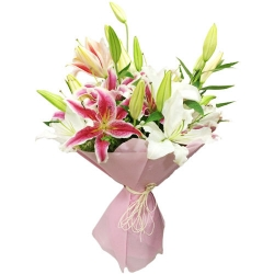 White And Pink Lilies Bunch