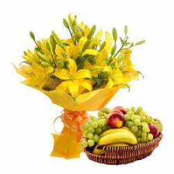 Yellow Lilies Bouquet And Fresh Fruit Combo