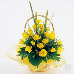 24 Yellow Roses Basket