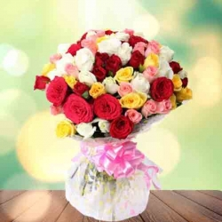 100 Mixed Color Roses Bunch