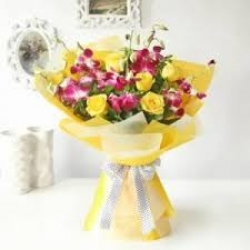 Flower Bouquet Of Yellow Roses & Orchid