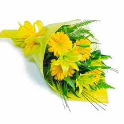 Bunch Of Yellow Gebera And Yellow Lilies