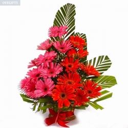 Red And Pink Gerbera Bouquet