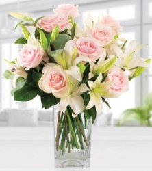 White Lilies And Pink Roses Arrangement