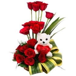 Cutie Teddy And Red Roses Bouquet