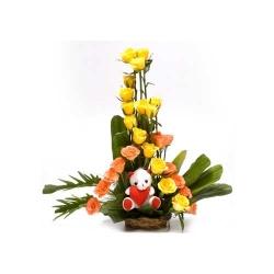 Cutie Teddy Flower Arrangement
