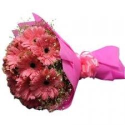 15 Pink Gebera Daisies Bouquet