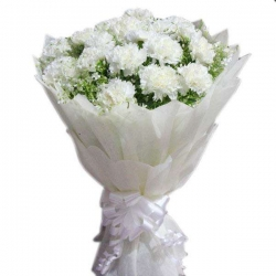 24 White Carnation Bouquet