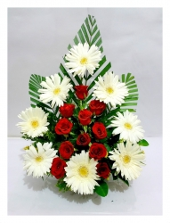 Red Roses  And White Gerbera Daisies Bouquet