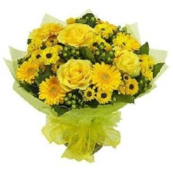 Yellow Rose And Yellow Gerbera Daisies Bouquet