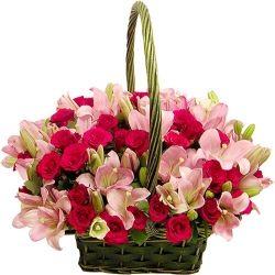 Pink Lilies And Red Roses Basket Arrangement