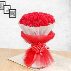 100 Red Carnations Bouquet