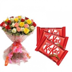 Bouquet Of Roses And Kit Kat Chocolate