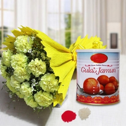 Yellow Carnations Bunch Gulab Jamun