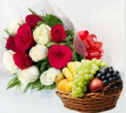 Fresh Fruit And Roses Bunch