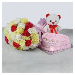Carnations Bunch,Teddy And Cake Combo
