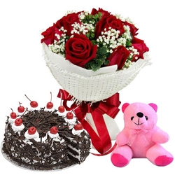 Bouquet Of Red Roses With Cake And Teddy