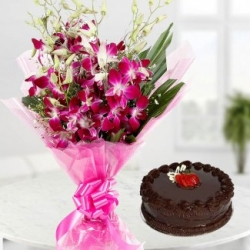 Orchid Flower Bouquet And Truffle Cake