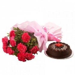 12 Red Carnations Bunch And Chocolate Truffle Cake