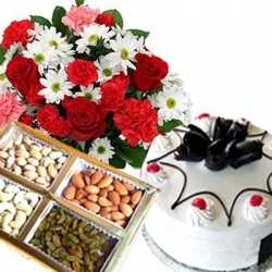 Dry Fruit With Cake And Flower Combo