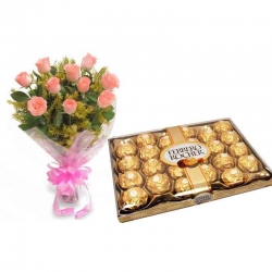 Pink Roses With Ferrero Rocher Chocolate Combo