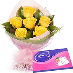 Yellow Roses Bouquet With Cadbury Celebration