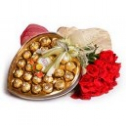 Red Roses Bouquet With Ferrero Rocher Box